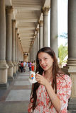 Teenage girl drinking mineral water Royalty Free Stock Photos