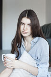 Teenage girl drinking tea. Tea - Hot Drink, Women, Drinking, Coffee - Drink, Cup Royalty Free Stock Photo