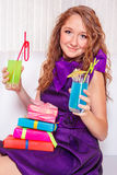 Teenage girl with drinks Stock Photos