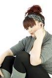 Teenage girl with earphones royalty free stock photos