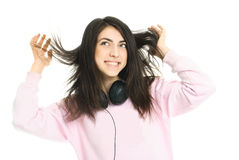 Teenage girl with earphones Stock Photo