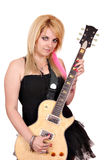 Teenage girl with electric guitar Stock Image