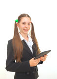 Teenage girl with an electronic book stock images