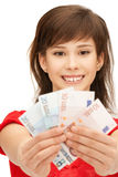 Teenage girl with euro cash money Royalty Free Stock Images