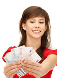 Teenage girl with euro cash money Royalty Free Stock Photography
