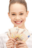 Teenage girl with euro cash money Stock Photos