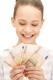 Teenage girl with euro cash money Royalty Free Stock Photo