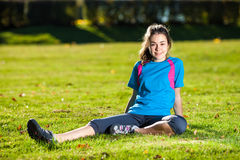 Teenage girl exercising outdoor Royalty Free Stock Photo