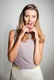 Teenage girl expressing surprise emotion Royalty Free Stock Image