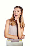 Teenage girl expressing surprise emotion Stock Images