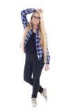 Teenage girl in eyeglasses with beautiful long hair posing isola Stock Photos