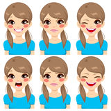 Teenage Girl Face Expressions Royalty Free Stock Photo