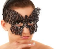 Teenage girl with face mask Royalty Free Stock Image