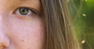 Teenage girl face outdoor close up footage Royalty Free Stock Image