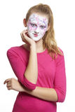 Teenage girl with face painting geisha girl Stock Photos