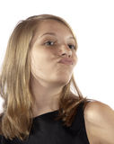 Teenage girl facial expressions pucker Stock Photo