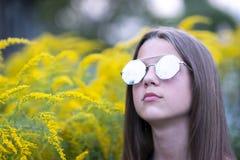 Girl in fashion sunglasses outdoor Stock Photo