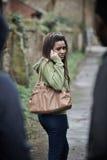 Teenage Girl Feeling Intimidated As She Walks Home Royalty Free Stock Photos