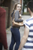 Teenage Girl Feeling Intimidated As She Walks Home Royalty Free Stock Image