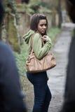 Teenage Girl Feeling Intimidated As She Walks Home. Teenage Girl Feels Intimidated As She Walks Home Stock Photos