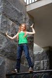 Teenage girl on the fencing Stock Image