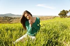 Teenage girl in a field stock photos