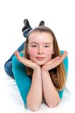 Teenage girl on floor Royalty Free Stock Images