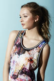 Teenage girl in floral clothes Royalty Free Stock Photo