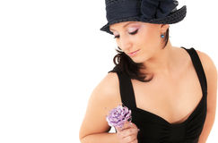 Teenage girl with flower Royalty Free Stock Images