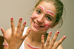 Teenage girl football fan Stock Images