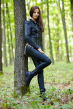 Teenage girl in the forest Royalty Free Stock Photo