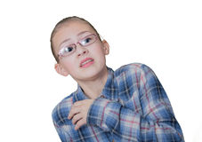 Teenage girl in fright. Isolated on white Royalty Free Stock Photography