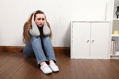Teenage girl frightened and alone very worried Stock Photos