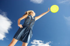 Teenage girl with frisbee Royalty Free Stock Image