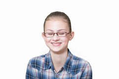 Teenage girl with a funny expression on his face. An white background Stock Photos