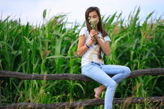 Teenage girl get fun at the farm Royalty Free Stock Image
