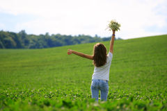 Teenage girl get fun at the farm Stock Photography