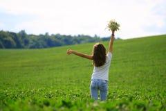 Teenage girl get fun at the farm Stock Photography