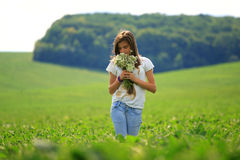 Teenage girl get fun at the farm Royalty Free Stock Images