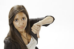Teenage Girl Giving The Thumbs Down Sign Royalty Free Stock Photos