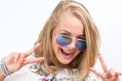 Teenage girl with glasses royalty free stock photography
