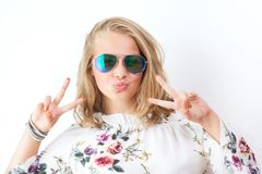 Teenage girl with glasses royalty free stock photos