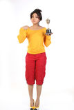 Teenage girl with gold trophy Stock Image