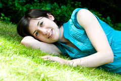 Teenage girl on grass Royalty Free Stock Photography