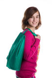 Teenage girl with a green reusable shopping bag Royalty Free Stock Images