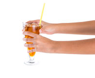 Teenage Girl Hand Holding Drink III Royalty Free Stock Images