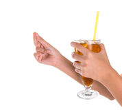 Teenage Girl Hand Holding Drink V Royalty Free Stock Photo