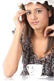 Teenage girl with hat having coffee Stock Photo