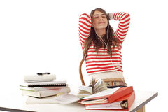 Teenage girl having a break from studying Royalty Free Stock Photography