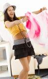 Teenage girl having fun at home Stock Images